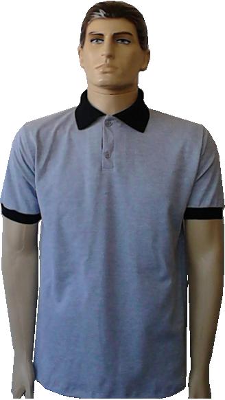 Camiseta polo cinza mescla com punho e gola preta d10ef59a5ce50