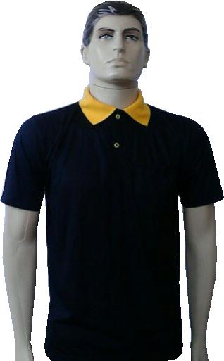 c808d73cc0 Camiseta polono piquet preta com gola amarelo ouro