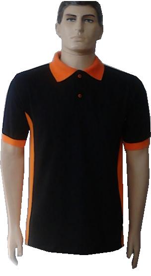 1cec93fbef Camiseta polo preta recorte 1 com punho e gola laranja