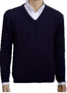 41356c04f4 Blusa de lã decote V azul marinho