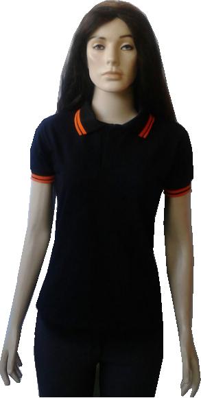 d95aa23327 Camiseta polo baby look feminina com punho e gola laranja
