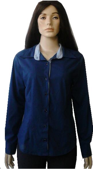 Camisa social feminina azul marinho com detalhe maanga longa dbb482037e057