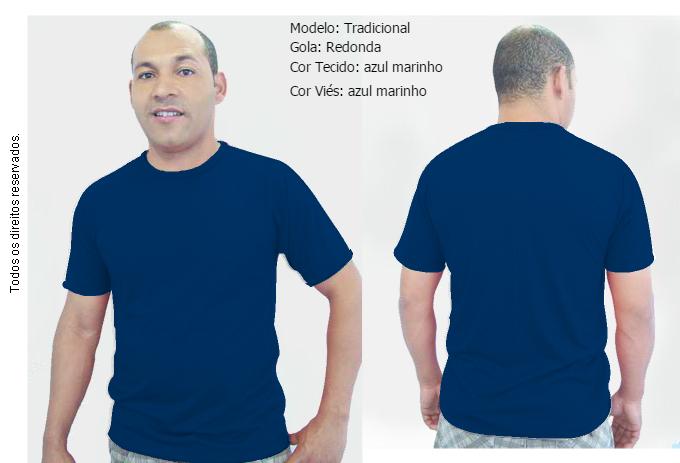 1a1310f8da Camiseta Tradicional Gola Careca Unissex Marinho